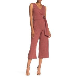 NEW ECI Ribbed Faux Wrap Jumpsuit